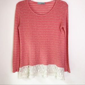 Chatoyant Long Sleeve Lace Bottom Top Size M